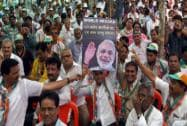 Congress party workers in a rally protesting against the BJP government in Mumbai