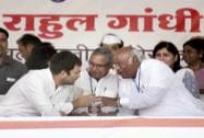 Rahul Gandhi with party leaders Sushil Kumar Shinde, Mallikarjun Kharge