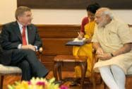 Prime Minister Narendra Modi with President of the International Olympic Committee Thomas Bach