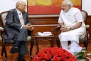 Prime Minister Narendra Modi with NRI industrialist Lord Swraj Paul