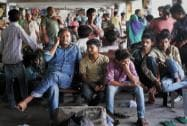 Stranded passengers at a bus stand