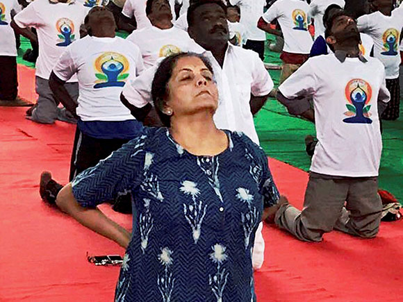 Nirmala Sitharaman, yoga day 2017, Yoga Day, Yoga, International Yoga Day 2017, Narendra Modi, Prime Minister
