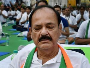 Union Minister M Venkaiah Naidu participates in a yoga session