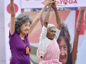 yoga teachers Nanamma and Tao Porchon- Lynch