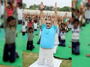 Giriraj Singh, Minister of State for Micro, Small and Medium Enterprises at Patliputra Sports complex in Patna