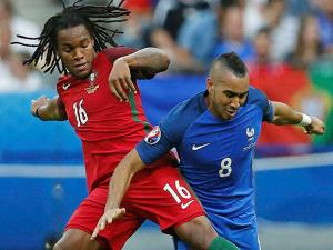 Dimitri Payet and Renato Sanches during the Euro 2016