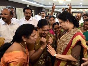 AIADMK General Secretary VK Sasikala interacting with party's MLAs supporting her after the press conference