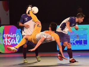 team captain Falcao in action against Kochi 5s at the Premier Futsal Football League