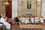 Pranab Mukherjee with Rajnath Singh, Najma Heptulla, Sonia Gandhi, Mufti Mohammad Sayeed, Arvind Kejriwal, Tariq Anwar, Sharad Yadav