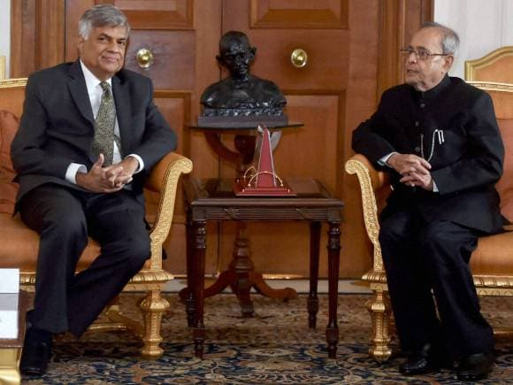 President of India, Pranab Mukherjee, Wickremesinghe, Fishermen issue, Ranil Wickremesinghe, Sri Lankan PM, India Sri Lanka, Wickeremesinghe India, Modi Sri Lanka