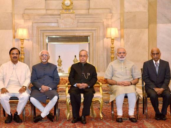 Pranab Mukherjee, Hamid Ansari, Narendra Modi, Tourism Minister, Mahesh Sharma, ISRO Chairman, Kiran Kumar, ISRO, Gandhi Peace Prize, Indian Space Research Organisation