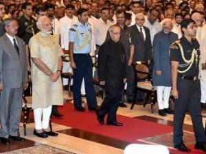 Hamid Ansari, Narendra Modi, Tourism Minister Mahesh Sharma and ISRO Chairman Kiran Kumar