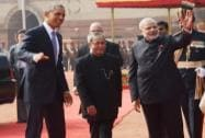 President and PM with US President, Mr. @BarackObama at the Ceremonial Reception at Rashtrapati Bhawan