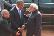 President Obama being welcomed at Rashtrapati Bhawan