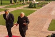 President Obama with PM Modi at Hyderabad House