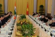 The President of India, Shri Pranab Mukherjee, during the delegation level talks at Presidential Palace in Hanoi