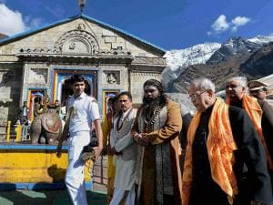 President Pranab Mukherjee along with  Governor of Uttarakhand, KK Paul during a visit to Kedarnath Temple at Kedarnath in Uttarakhand