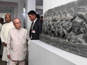 President Pranab Mukherjee visits Vikramshila University and Museum in Bhagalpur district