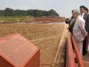 President Pranab Mukherjee visits Vikramshila University Monuments and Museum in Bhagalpur district