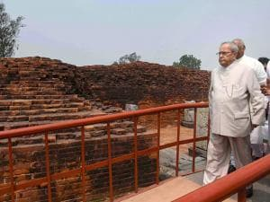 President Pranab Mukherjee visits Vikramshila University Monuments and Museum in Bhagalpur in Bihar