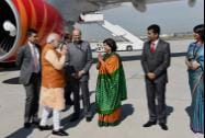 Prime Minister Narendra Modi upon his arrival at Frankfurt International Airport