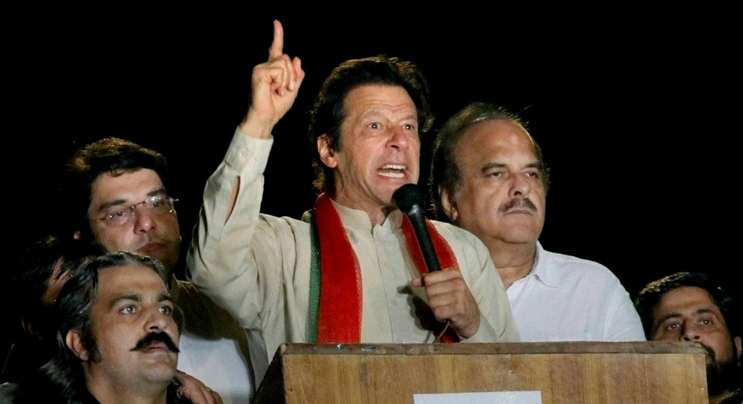 Pakistani, cricketer, turned, politician, Imran Khan, delivers, speech, protest, Islamabad, Pakistan, announced, lead,  anti-government, protesters, high security, Red Zone, deadline, government, step down, ending