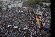 Pakistani religious cleric Tahir-ul-Qadri addresses his supporters during a protest in Islamabad