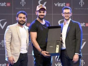 Upmanyu Misra and Ahmed Arab Co-Founders of Privyplex along with Cricketer Virat Kohli at the launch of 'Virat FanBox' in Mumbai
