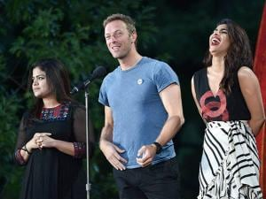 Poonam Mahajan, Chris Martin and actress Priyanka Chopra speak at the 2016 Global Citizen Festival