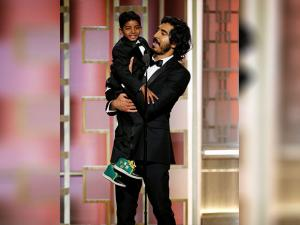 Sunny Pawar and Dev Patel at the 74th Annual Golden Globe Awards