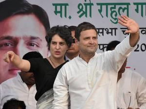 Congress Vice President Rahul Gandhi with sister Priyanka Gandhi Vadra at an election rally in Raebareli