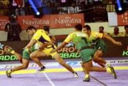 Players in action during a Pro Kabaddi League match between Telugu Titans and Patna Pirates