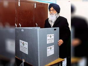 Punjab Chief Minister Parkash Singh Badal casting his vote for Assembly polls in Badal village in Muktsar district