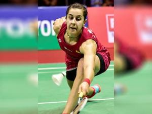 Carolina Marin plays against India's P V Sindhu women's singles final of the Yonex-Sunrise India Open 2017 tournament