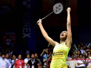 PV Sindhu lets out a triumphant cry after winning women's singles final