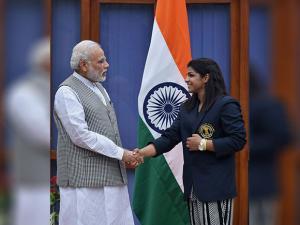 Narendra Modi greets Rio Olympics Bronze medalist Wrestler Sakshi Malik