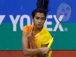 India's PV Sindhu in action against Korea's Bae Yeon Ju at a quarterfinal match of Yonex-Sunrise India Open 2016, in New Delhi