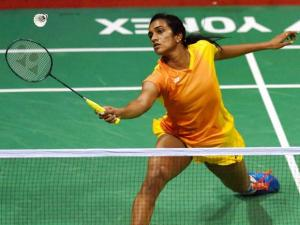 India's PV_Sindhu in action against Korea's Bae Yeon Ju in the quarterfinal match of Yonex-Sunrise India Open 2016, in New Delhi