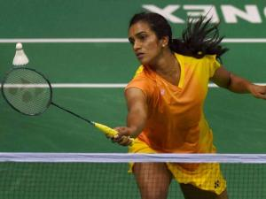 India's PV Sindhu in action against Korea's Bae Yeon Ju in the quarterfinal match of Yonex-Sunrise India Open 2016, in New Delhi