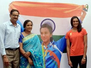 PV Sindhu along with parents PV Ramana and P Vijaya