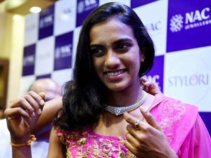 P V Sindhu  being felicitated at an event in chennai