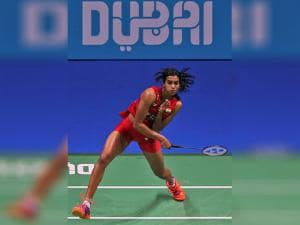 Sindhu Pusarla returns the shot to South Korea's Sung Ji-hyun during the World Superseries Finals Badminton tournament in Dubai
