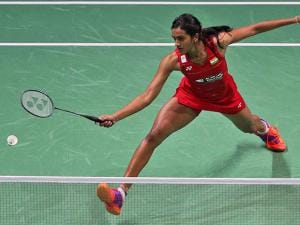 Sindhu Pusarla returns the shot to South Korea's Sung Ji-hyun during the World Superseries Finals Badminton tournament in Dubai United Arab Emirates