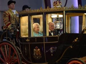 Britain's Queen Elizabeth II and Prince Philip arrive in the Scottish State Coach during the televised celebration of the Queen's 90th birthday in the grounds of Windsor Castle in Berkshire, Britain