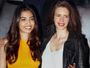 Bollywood actors Radhika Apte and Kalki Koechlin during the screening of film Phobia in Mumbai