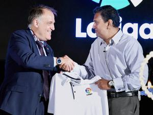 Javier Tebas Medrano and AIFF General Secretary, Kushal Das during a press conference to announce LaLiga's official presence in India