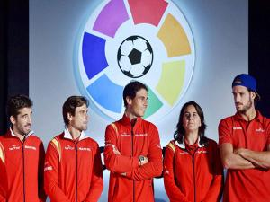 Rafael Nadal and his teammates during a press conference to announce LaLiga's official presence in India