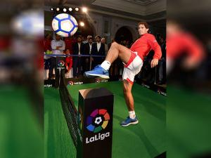 Rafael Nadal playing tennis-football during a press conference to announce LaLiga's official presence in India