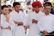 Rahul Gandhi with Rajasthan Congress Chief Sachin Pilot and Ashok Gehlot