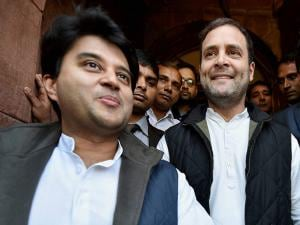 Congress Vice President Rahul Gandhi with Jyotiraditya Scindia at Parliament house during the budget session in New Delhi